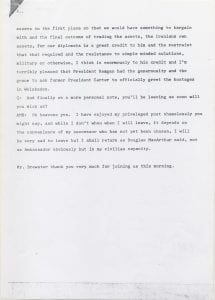 Page 3 of a BBC Radio 4 Today interview with Brewster regarding the release of United States diplomats and citizens from the United States Embassy in Tehran, Iran, January 21, 1981.