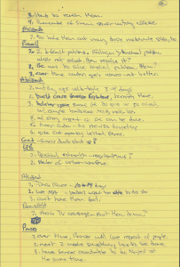 Bremer's handwritten notes from an April 13, 2004, meeting with Secretary Donald Rumsfeld, National Security Advisor Condoleezza Rice, and Generals John Abizaid and Peter Pace on increased violence in Fallujah, Iraq.