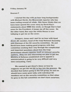 Letter from Amb. Bremer to his wife Frances discussing the coalition's progress on conversations with Iraq Governing Council. January 30, 2004.