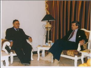 Photograph of L. Paul Bremer III with Jalal Talabani, member of the Iraq governing council on February 13, 2004.