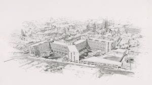 Image of an aerial view of the two new residential colleges proposed by the Brewster administration in 1972 that were not built due to opposition from the city of New Haven and Yale students.