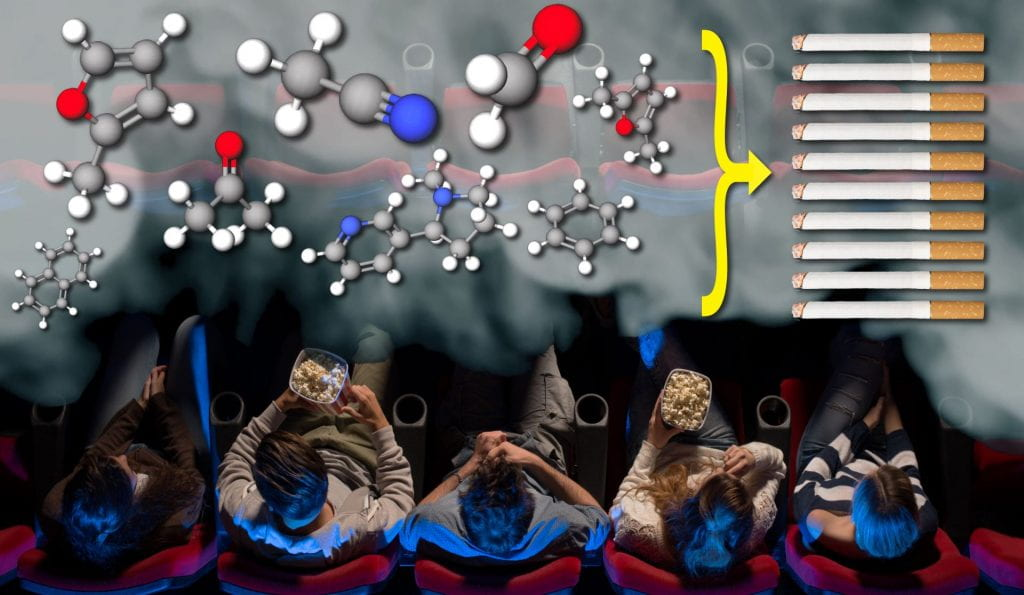 Movie goers sitting with dangerous chemicals from smoking around them.