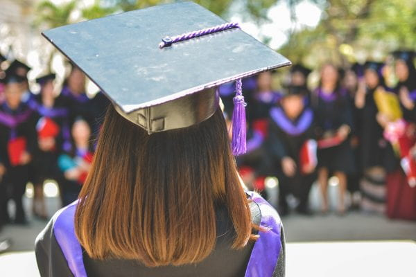 Woman graduating with mortarbord