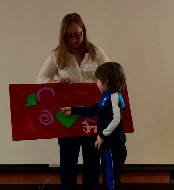 Angus Presenting His Artwork