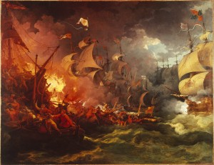 Large painting of chaos, ships on fire, smoke, waves and men