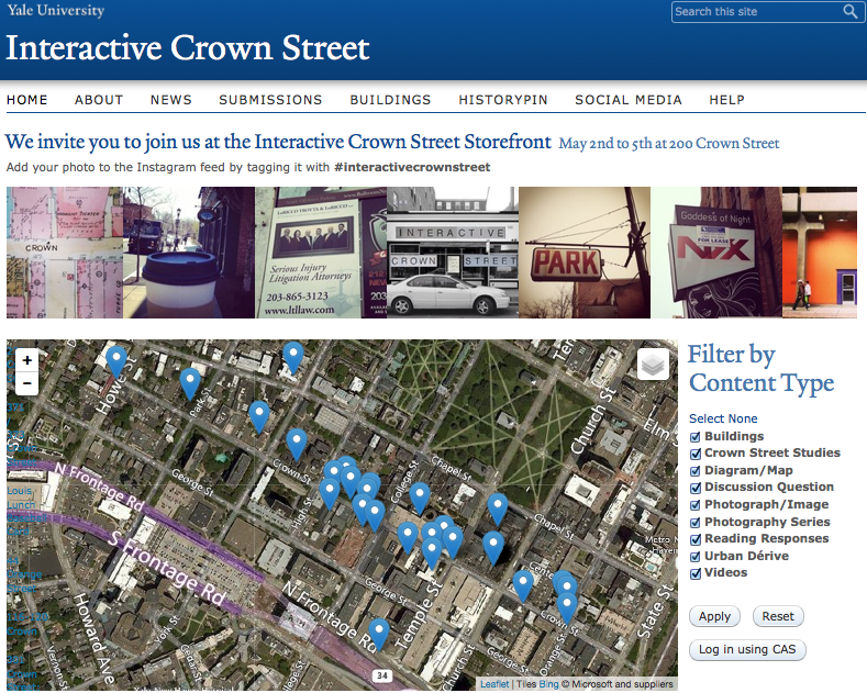 Front page of interactivecrownstreet.yale.edu