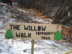 Two E3 students built a sign for the new Willow Walk trail, which opened in December. Photo courtesy of the Hoosic River Revival.