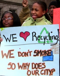 Young people in Detroit in 2010 protest an incinerator that burns most of Detroit's waste to produce electricity. Photo courtesy of Global Alliance for Incinerator Alternatives.
