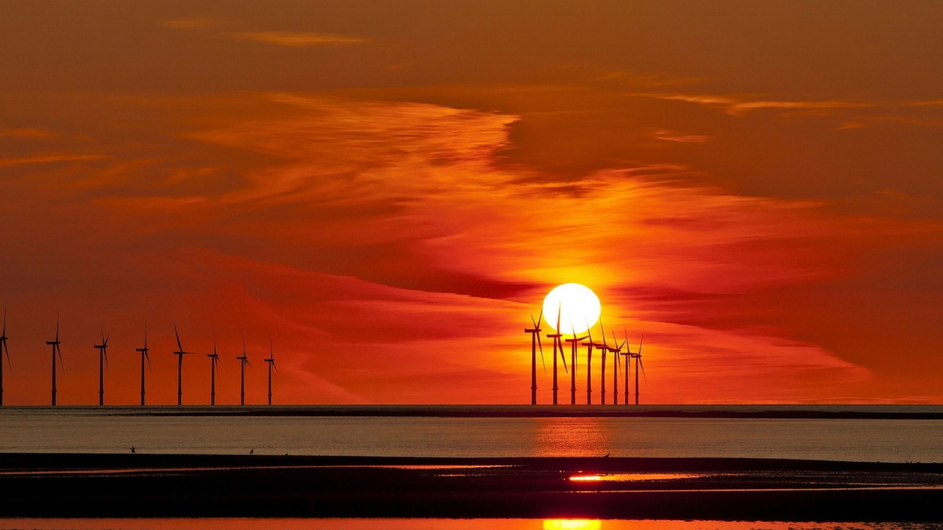 offshore turbines at sunset
