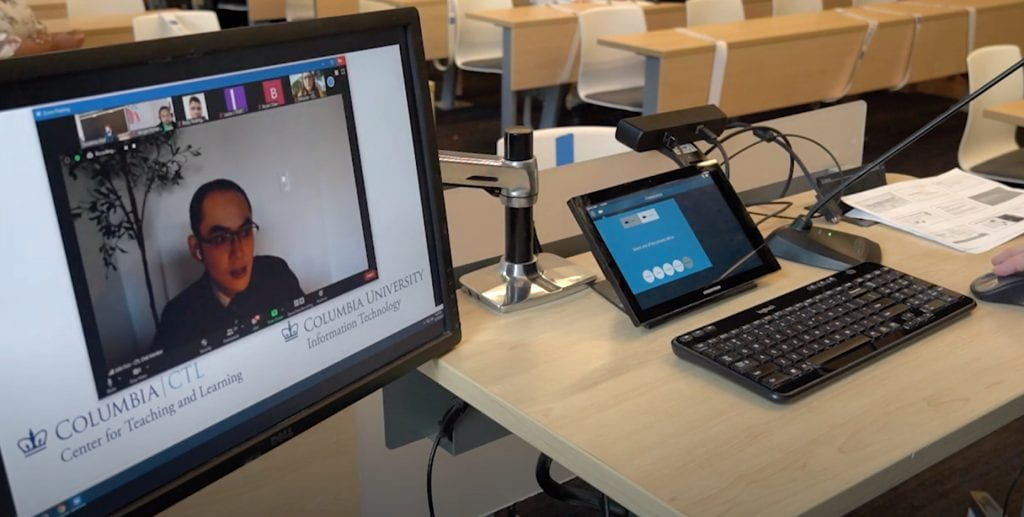 Touch screen in Columbia class: view of student on Zoom
