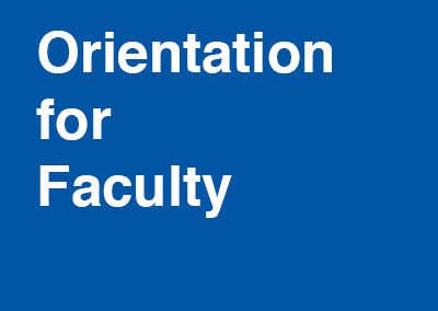 Orientation for Faculty