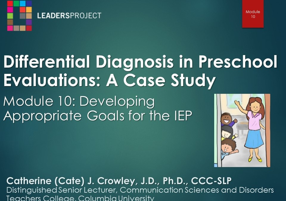 Developing Appropriate Goals for the IEP (DDPE Playlist: Module 10)