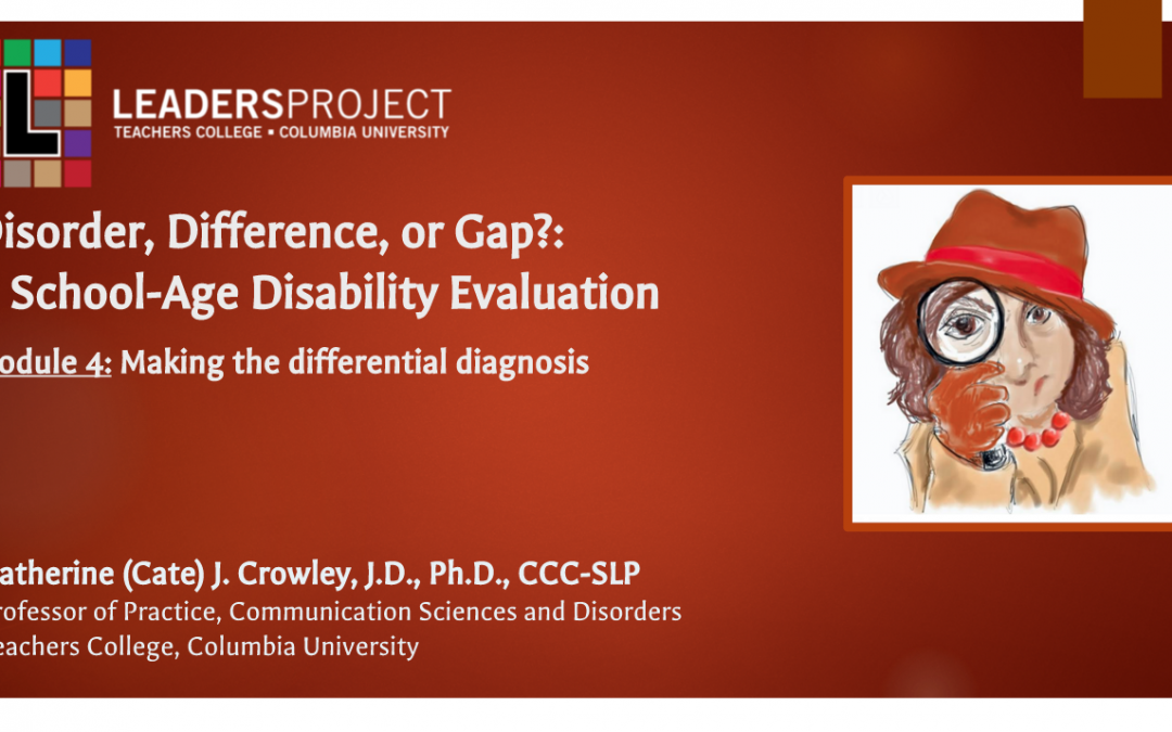 Difference, Disorder or Gap: Analysis and Disability Determination (DDoG Module 4)