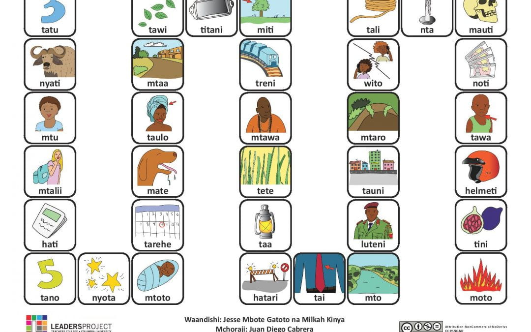 (Kiswahili) Cleft Palate Therapy Word Game for T