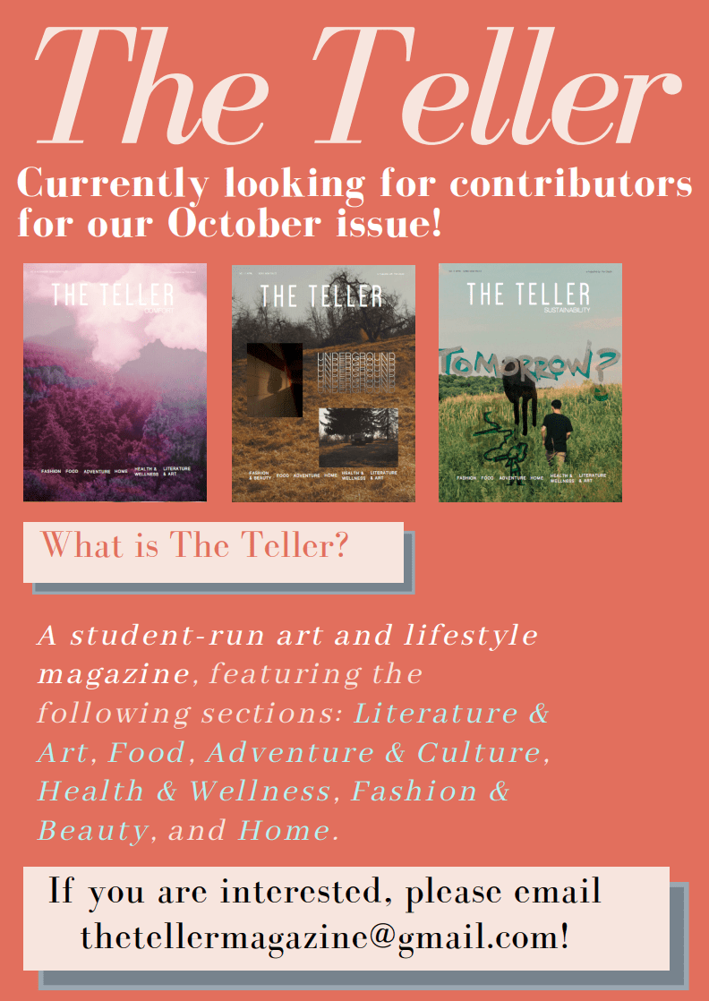 The Teller magazine is looking for contributors for their October issue. Email thetellermagazine@gmail.com if interested.