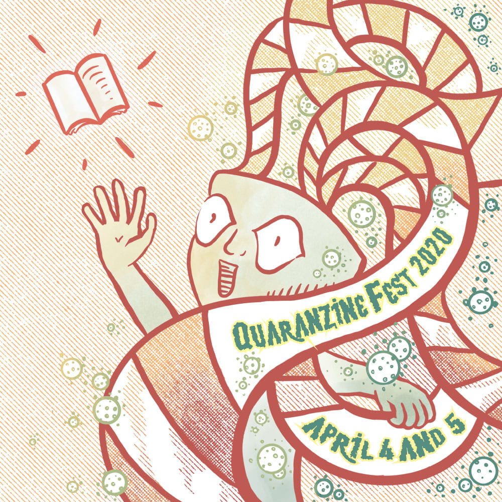 Logo for Quaranzinefest 2020, April 4-5, shows an exploding headed figure reaching up for a zine