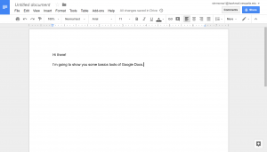 Google doc with example text typed into the document.