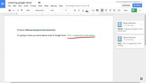 "Words written in from suggestion mode on doc listed on right, ""This is suggesting mode adding"" written in green,"