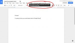 Google Document confirmed auto saving top center, notification stating Every change you make is automatically saved in Drive. Last edit was seconds ago. Circled.