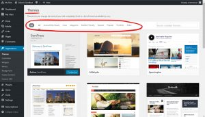 WordPress Themes page with filter lists located on the top, circled