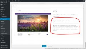 Themes details include a summary, Category details, and tags