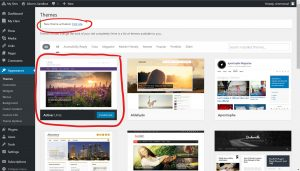 Under Theme title, on the theme page, New theme activated. View Site, circled. Chosen theme first theme on the left labeled active, circled