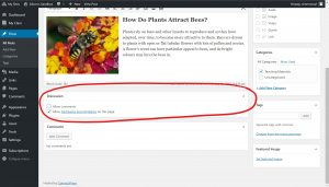 Under edit posts below the text window is the Discussion Section with two options Allow comments and allow trackbacks and pingbacks on this page, circled