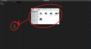 Finder open with video files, circled. Import media icon located to the right of the libraries