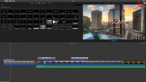 Cities iMovie opened, top right corner Share button, circled