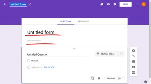 New Google form page, Untitled form title underlined, Form description below it underlined