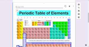 View of an image of the Periodic table uploaded onto the form, Image Title is written above the image