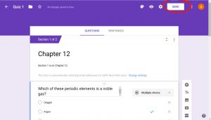 opened google form quiz with the Send button in the upper right corner of the screen circled