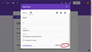 Small window with options on how to send it, the Send button on the bottom is circled