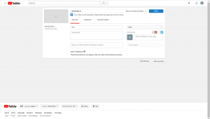 Video upload page, progress bar on top, with title and description below