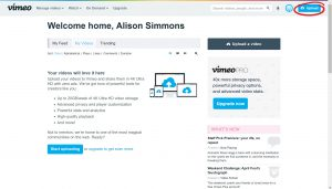 Vimeo welcome page, Upload button, circled, located on the top right corner
