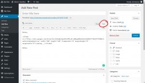 WordPress Post edit page the Text tab above the toolbar is circled code is pasted in the location it will be viewed