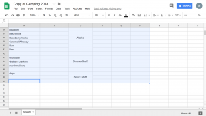 Highlighted to the bottom of the desired section of the spreadsheet