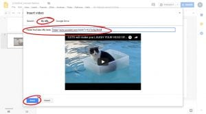 By URL option is circled, pasting the YouTube URL in search bar, circled and Select button is circled on bottom