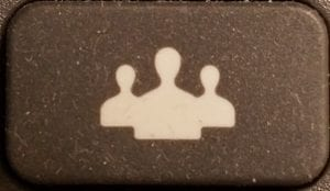 rectangular button with silhouette icon of 3 people