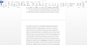 Text from other Word document inserted into blank page