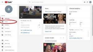 Video tab circled on side bar of YouTube Studio beta