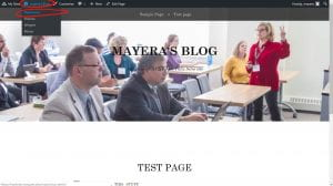 WordPress web page Mayera's Blog, the name circled on the top and sub tab Dashboard circled as well