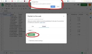 Publish to the web small window, Publish button located on bottom left,circled. Google drive notification located on the top middle of the screen, circled.