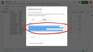 Publish to the web small window, Embed Code located underneath the original Embed option, circled