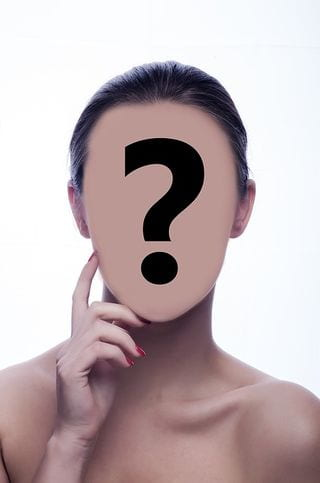 Woman's head with a question mark where her facial features should be