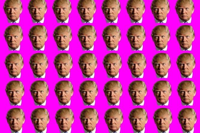 Many small photos of Donal Trump's head