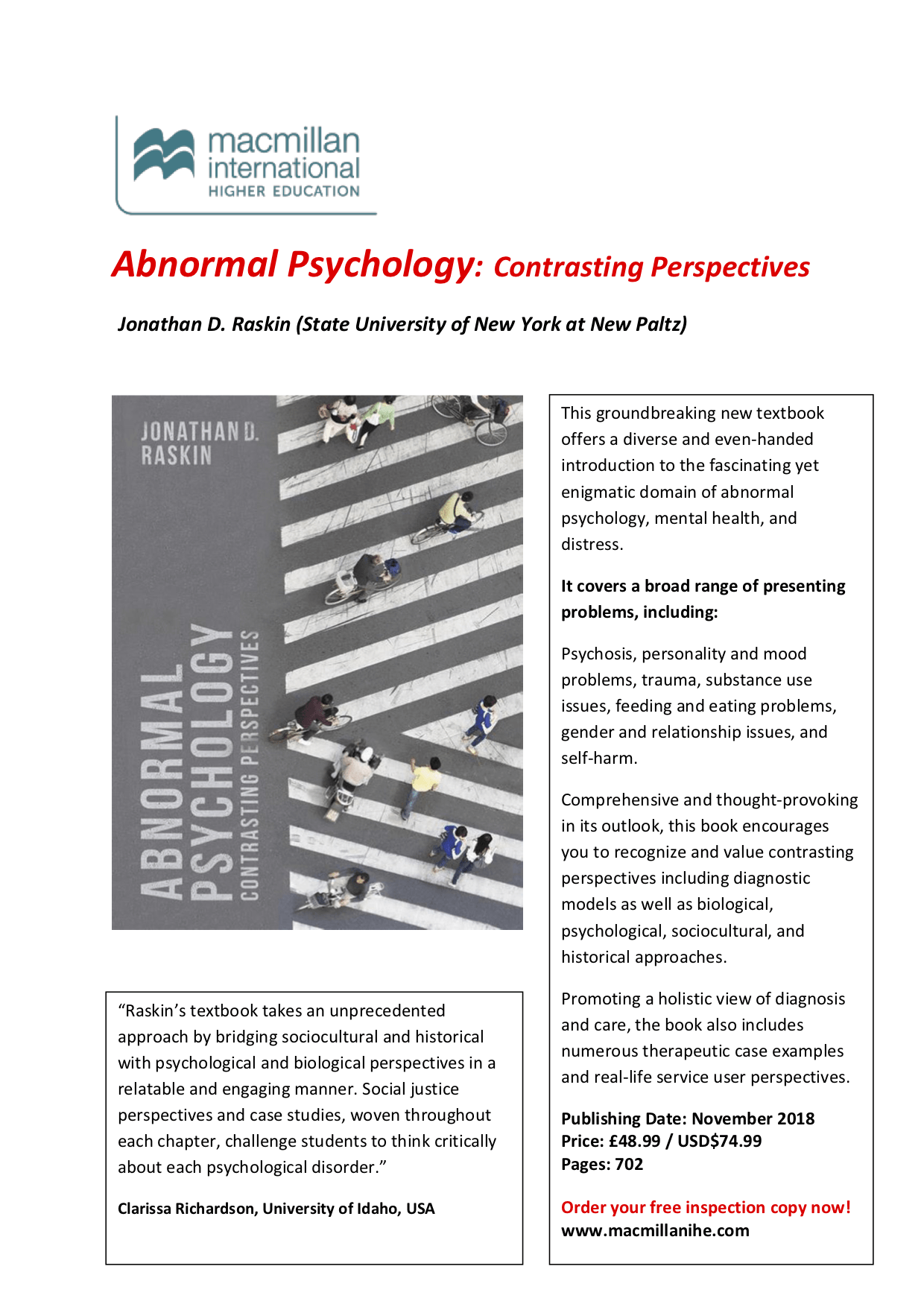 "Flyer, ""Abnormal Psychology: Contrasting Perspectives"""