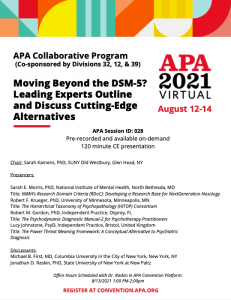 """Flyer for """"Moving Beyond the DSM-5? Leading Experts Outline and Discuss Cutting-Edge Alternatives"""""""
