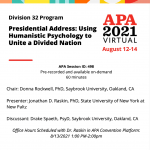 """Flyer for """"Presidential Address: Using Humanistic Psychology to Unite a Divided Nation"""""""