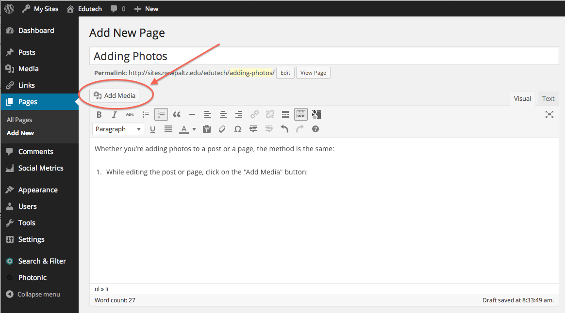 add new page, Add media button located between the title and the toolbar, circled